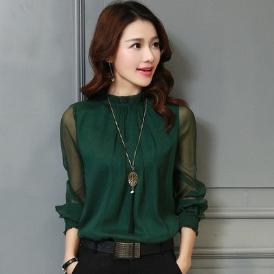 Chiffon shirt small stand collar sexy large size wild fashion mesh ruffled bottom shirt shirt