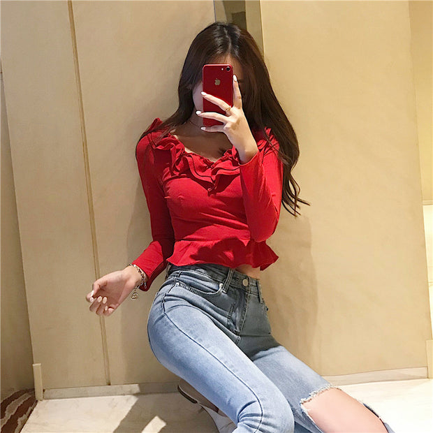 2018 autumn chic sexy V-neck long-sleeved see-through mesh backless stitching ruffled T-shirt top H2807