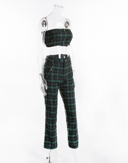 ERICA PLAID GREEN TWO PIECE SET