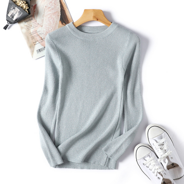 Autumn Long-sleeved Crew Neck Knit Sweater