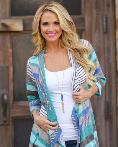 Asymmetrical Autumn Stripe Stitched Cropped Sleeve Cardigan