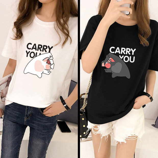 New 2019 pig year T-shirt cute personality piglet birth year printing couple dress class short-sleeved T-shirt