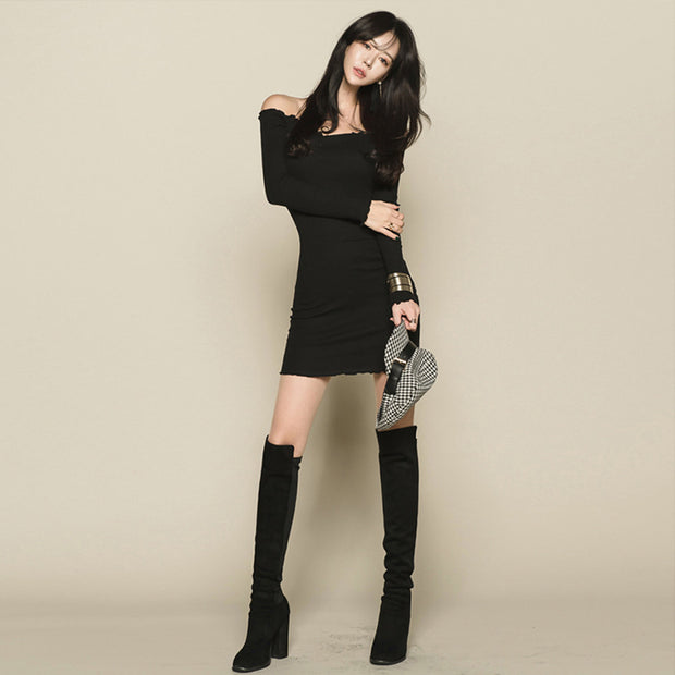 One-shoulder off-the-shoulder collar long-sleeved solid color slim bag hip slim skirt dress