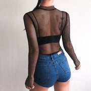 HOLLOW OUT PARTY MESH BODYSUIT