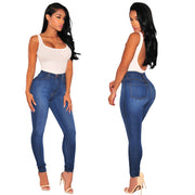 Europe and the United States Fan Slim solid color hips stretch thin fashion knee hole jeans