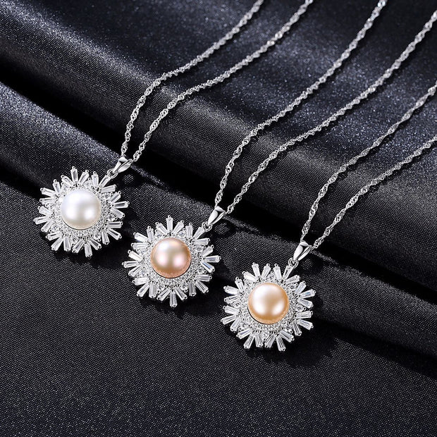 Sterling Silver Necklace S925 Snowflake Inlay 7-8mm Natural Freshwater Pearl
