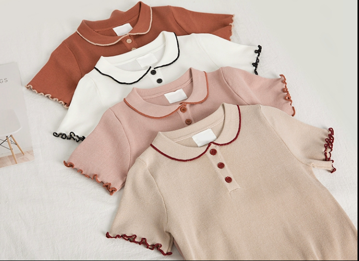 Doll collar short-sleeved knit top female sweet lotus leaf ice silk T-shirt spring thin sweater net red shirt