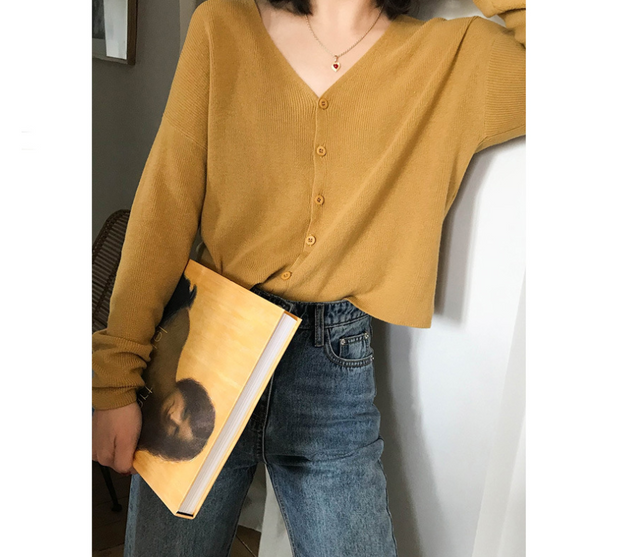 Knit cardigan coat female 2018 new Korean version of the loose chic early autumn lazy wind shirt tide