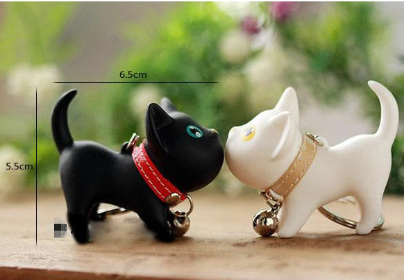 Key ring / Kate cat key ring couple key chain / kitten key ring / cat key ring