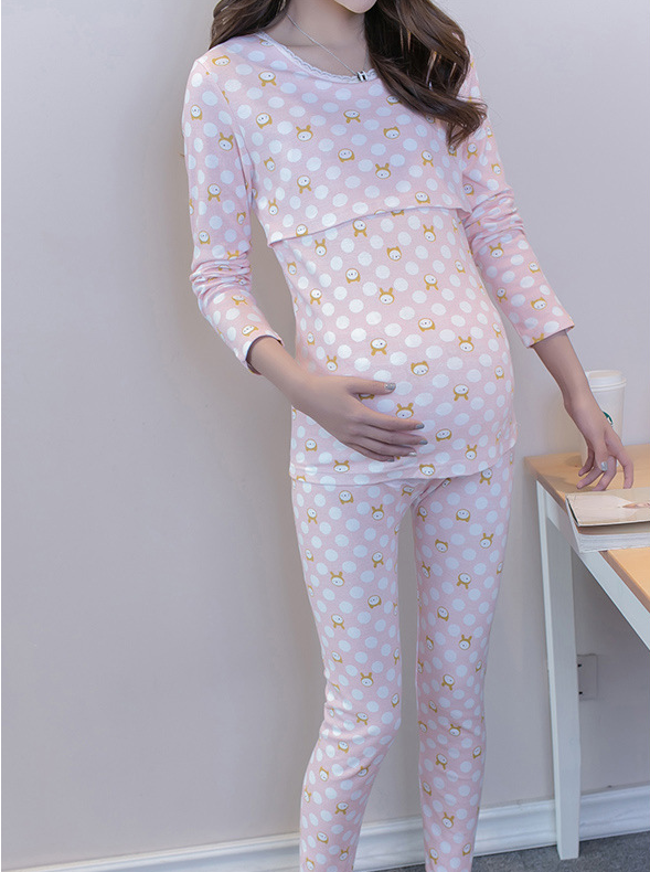 Casual Cartoon Printed Maternity Pajama Set
