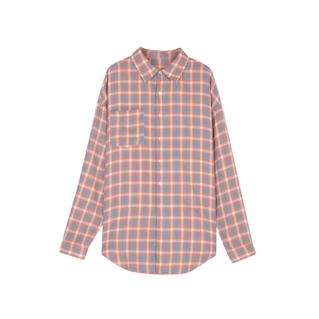 Grid Turn Down Collar plaid Shirt