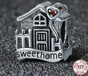Silver Ziyun S925 silver loose beads Warm home house shape beaded European and American style Charm