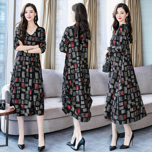 Plaid stitching temperament fashion casual long-sleeved dress