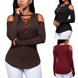 EBay Amazon hot explosion models Strapless Cross Lacing long sleeved shirt T-shirt and deep V female AM004#