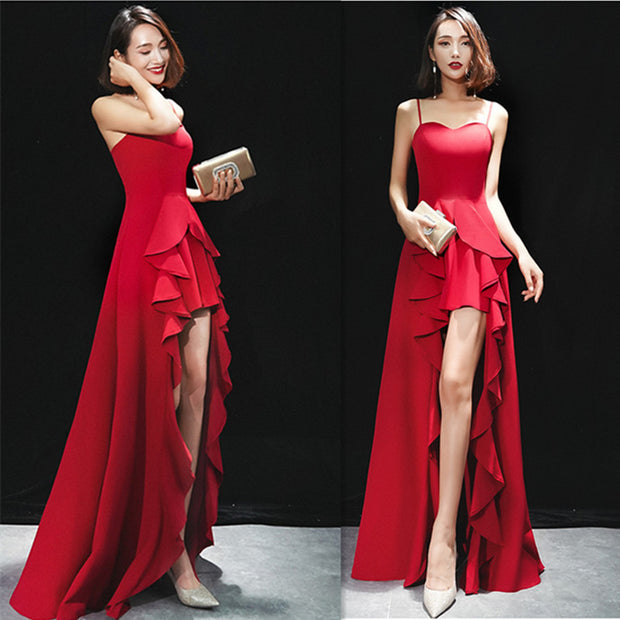Sexy Sling Red Long Slim Wedding Evening Gown
