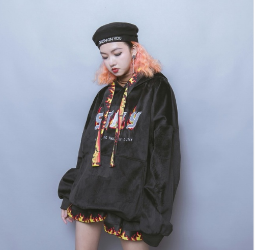 Hip hop street flame ribbon embroidery loose hooded sweater short skirt skirt winter female