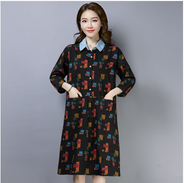 Women Loose Long Printed Shirt