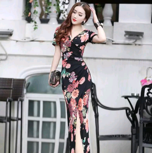 Dress summer new ladies dress bag hip print Slim slit dress