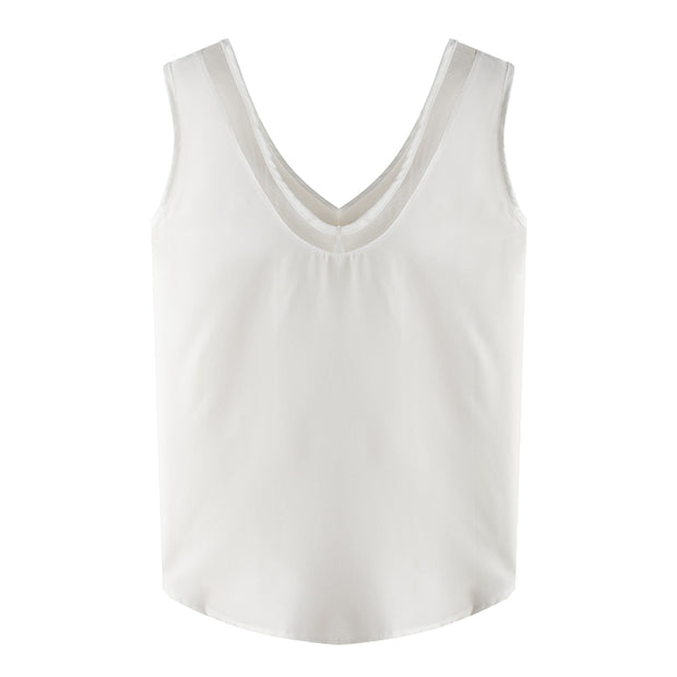 Sleeveless chiffon shirt Solid color V-neck mesh stitching vest