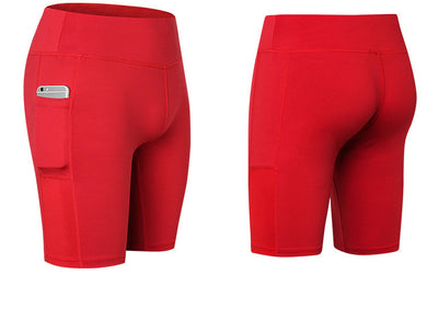 Women's Yoga Shorts Side Pockets Fitness Running Elastic Skinny Dry Perspiration Five Pants