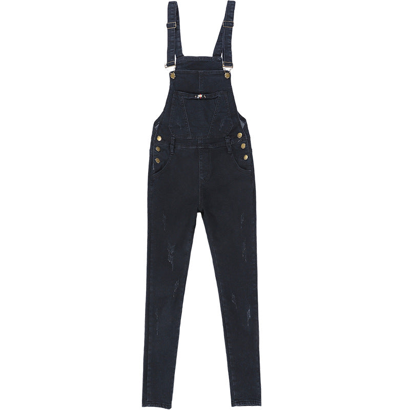 7723# jeans manufacturers fall 2018 Couture Black all-match nine feet Denim Bib female