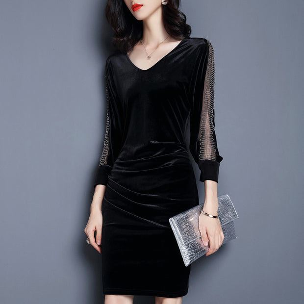 Vintage velvet stitching  V-neck Long Sleeve bodycon dress