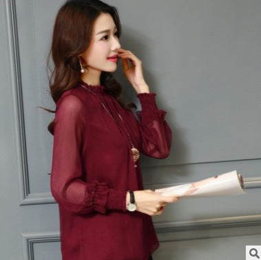 Chiffon Stand collar sexy Plus Size Ruffled  Blouse
