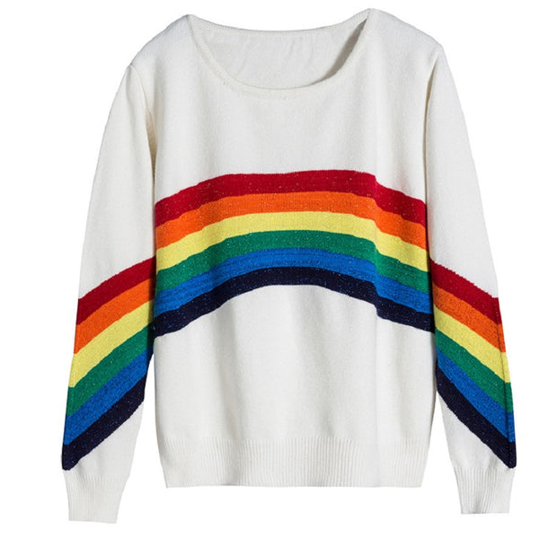 New Autumn Women Rainbow Sweater Color Striped Women'S Knitted Sweater Loose O-Neck Pullover