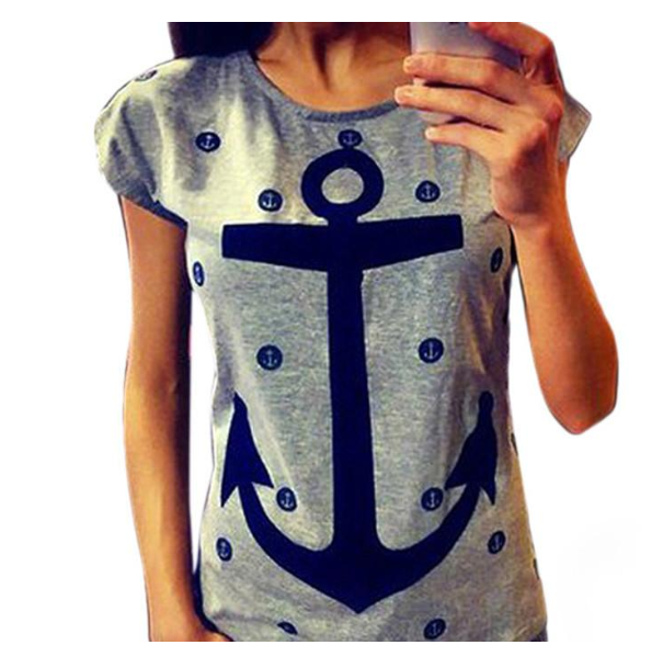 Anchor printed loose round neck short sleeve T-shirt