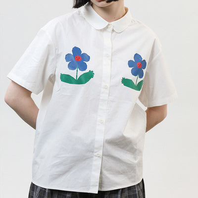 Summer white shirt flower print short sleeve ladies loose shirt