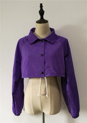 Purple European and American shirt collar striped short coat drawstring windbreaker jacket defensive jacket