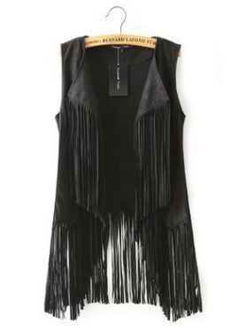 Ethnic Sleeveless Tassels Fringed Cardigan
