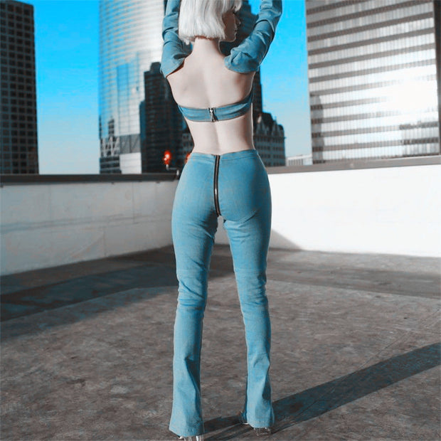 Zipper skinny jeans woman sexy light blue stretch denim pants club vintage bell bottom flare pants