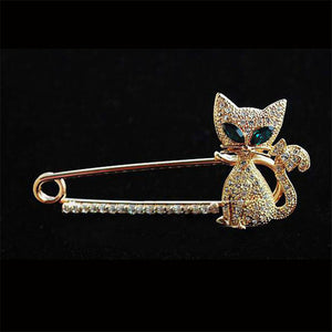 Green-eyed Kitten  Diamond Brooch