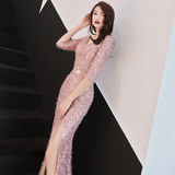 Long Slim High-cut Sequined Seminary Elegant Party Dress Annual Meeting Hosted Evening Dress