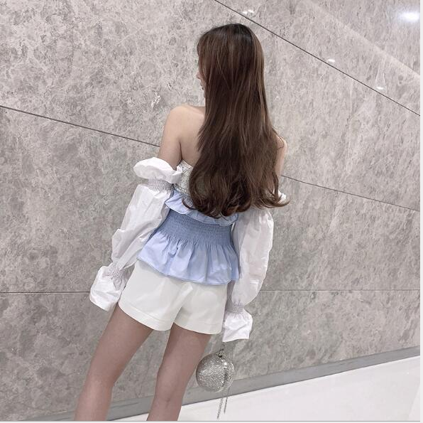 New style Xia Chaoxian shoulder sequined pleated waist lotus leaf edge flower bud sleeve Mermaid Girl shirt in 2019