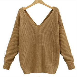 Loose V-neck Twisted Retro Solid Sweater