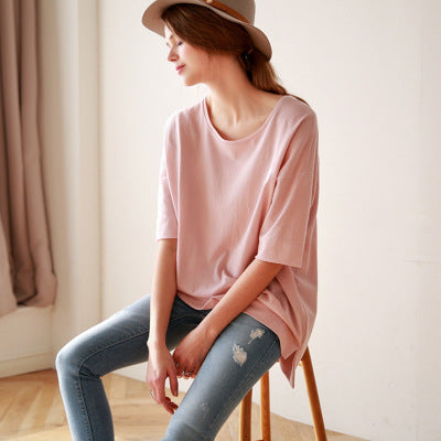 Summer new cotton short-sleeved t-shirt female models solid color long paragraph bottoming shirt loose large size