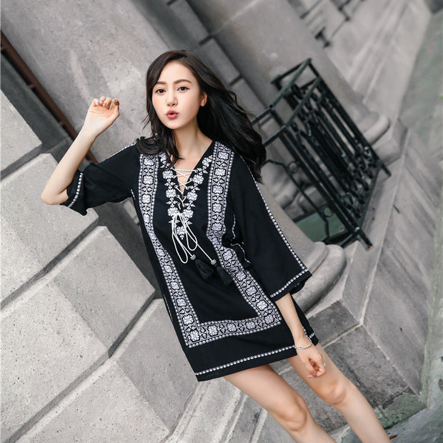 cotton and linen embroidered national style dress