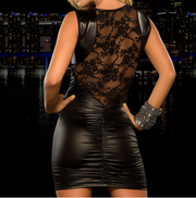 Sheer Lace Trimmed Leather Bandage Nightclub Dress