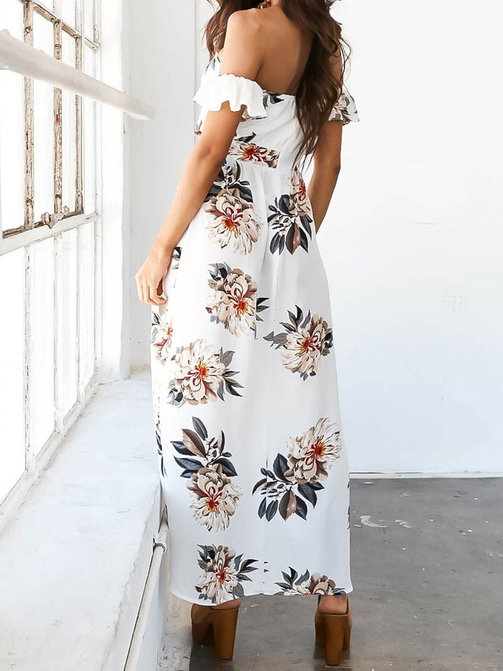 Wrapped chest printed irregular dress