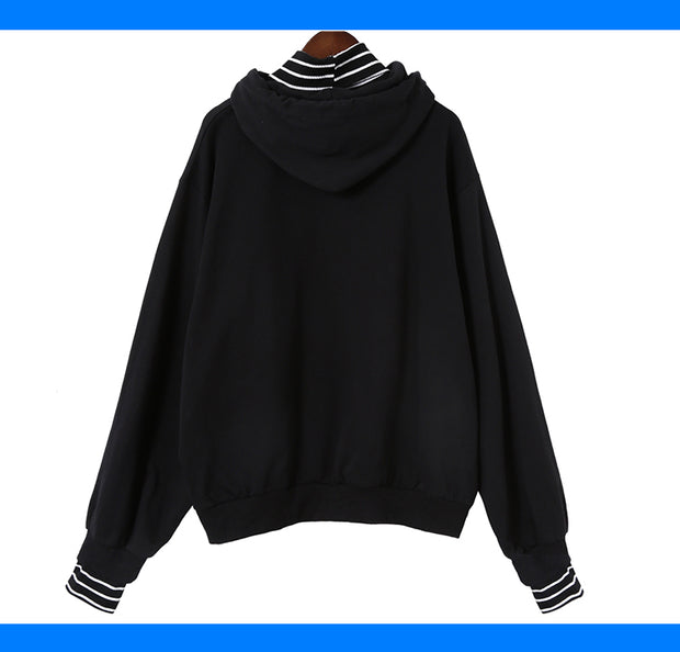 Harajuku striped turtleneck hoodies women kpop autumn long sleeve pullover female students oversize plus size tops sweatshirts