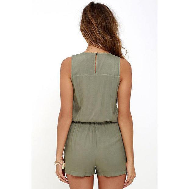 Sexy Army Green V-neck Overall