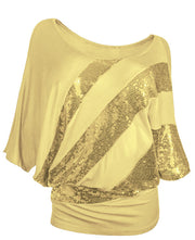 Batwing Shiny Sequined Cotton Casual Blouses