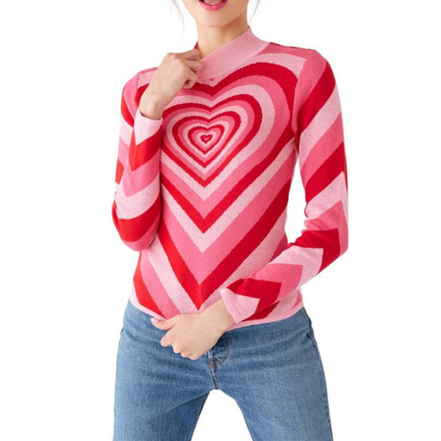 Half-neck sweater long-sleeved color matching love knit bottoming shirt