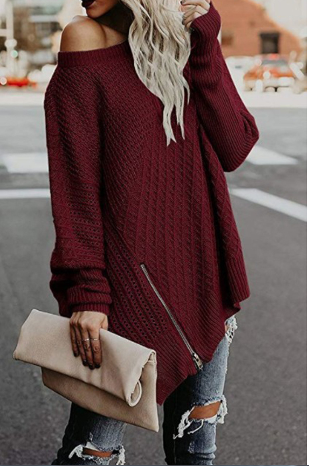 Open Neck Loose Hollow Knitted Sweater