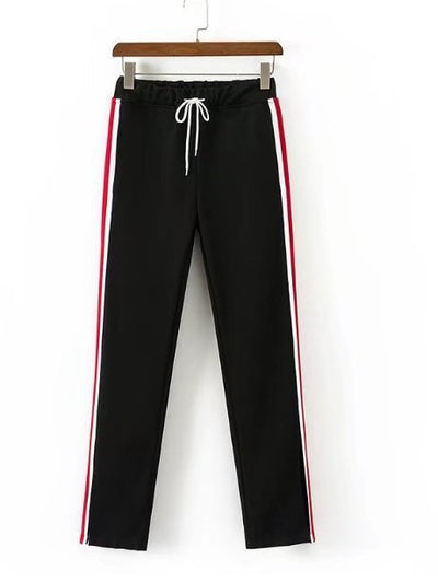 Leisure Side Stripe  Drawstring Elastic Waist Pants