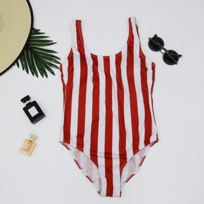 2018 new digital striped one-piece swimsuit