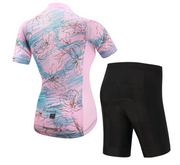 Short Sleeve Cycling Jersey - PinkCherryBlossom