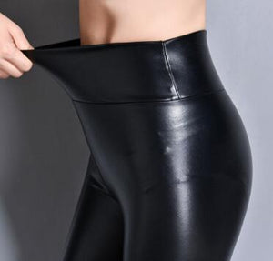Women Leather PU Stretch High Waist Pants